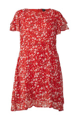 Red | Ditsy Floral Frill Sleeve Tea Dress