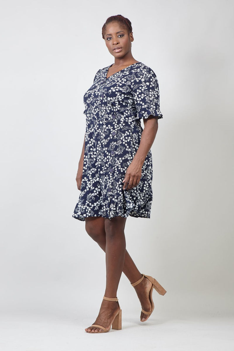 Navy | Ditsy Floral V-Neck Tea Dress