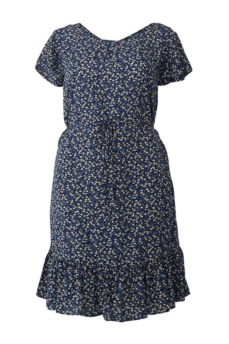 Navy | Ditsy Floral Pephem Skater Dress