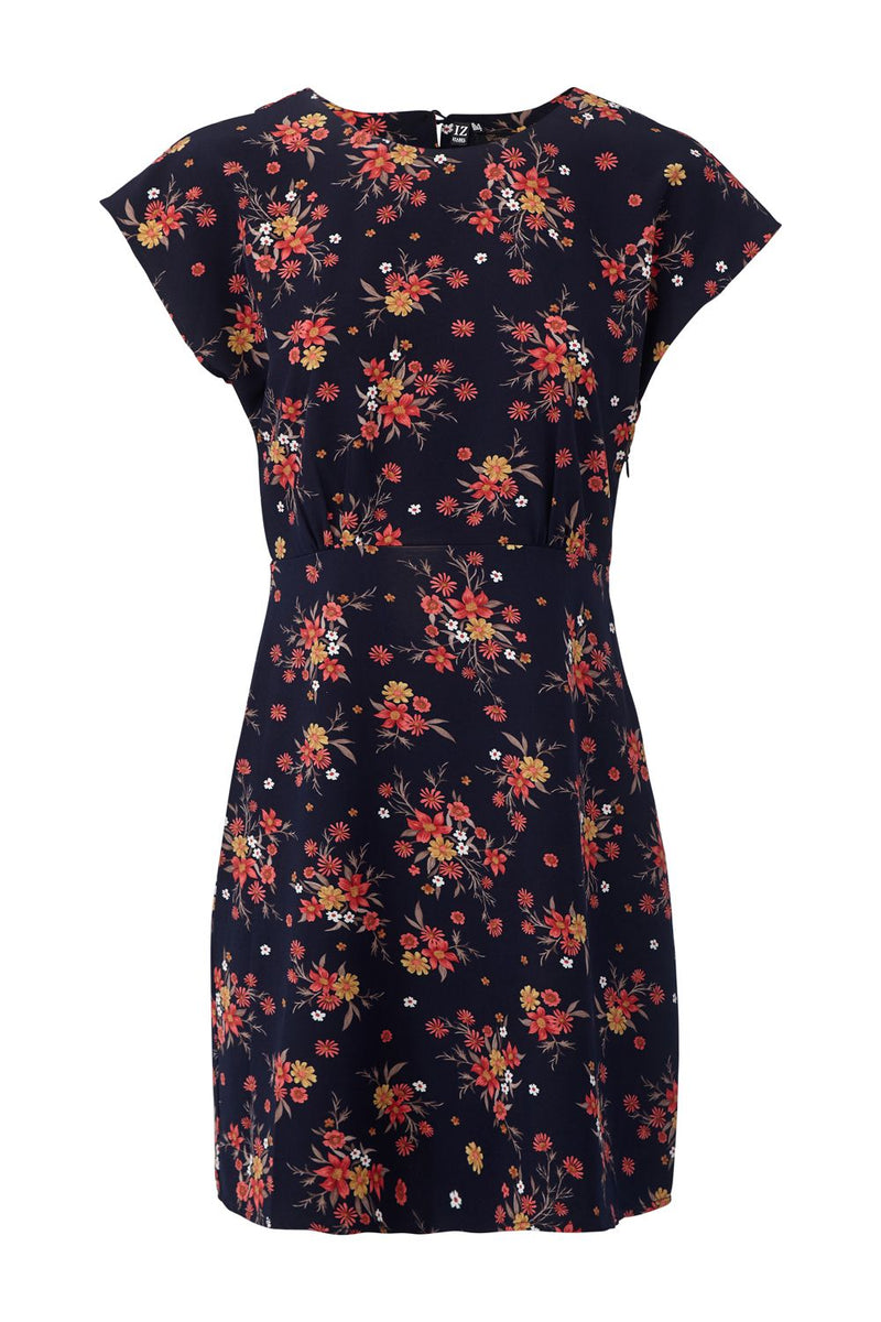 Navy | Floral Cap Sleeve Shift Dress