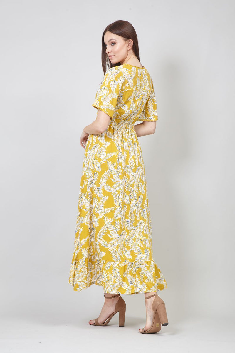 Mustard | Floral V-Neck High Low Maxi Dress