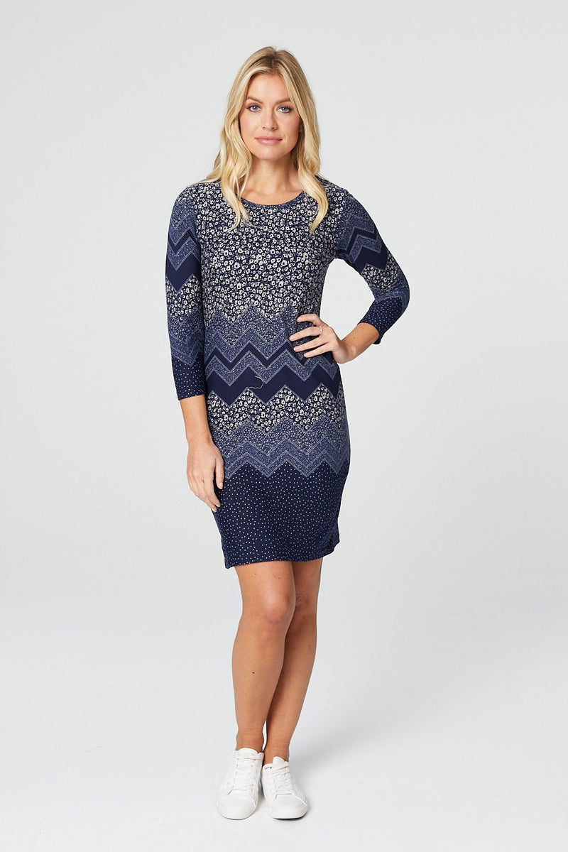 Navy | Ditsy Floral Long Sleeve Bodycon Dress