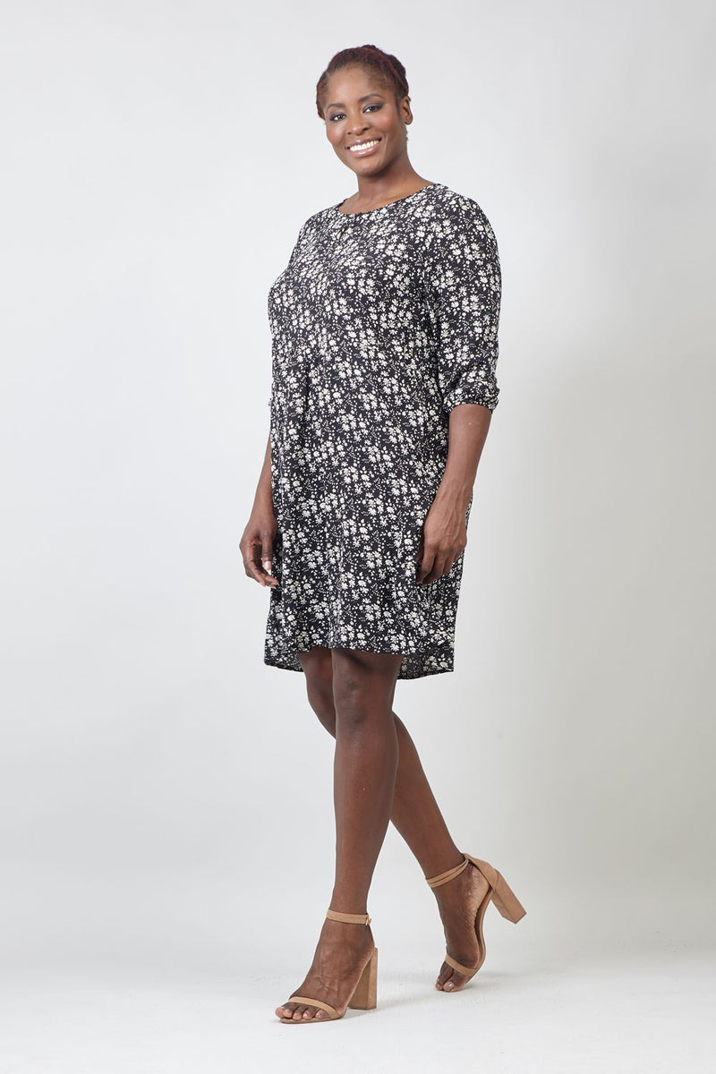 Black | Curve Ditsy Floral Tunic Dress