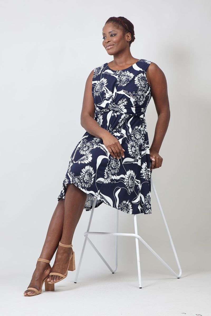 Navy | Curve Floral Twist Front Skater Dress