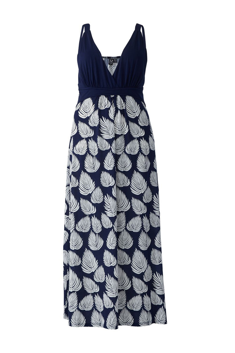 Navy | Curve Leaf Print Empire Waist Maxi Dress