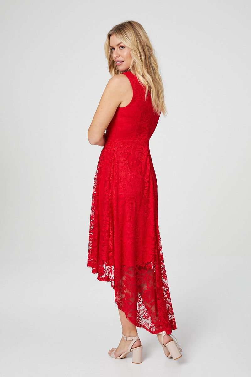 Red | Lace Sleeveless High Low Skater Dress