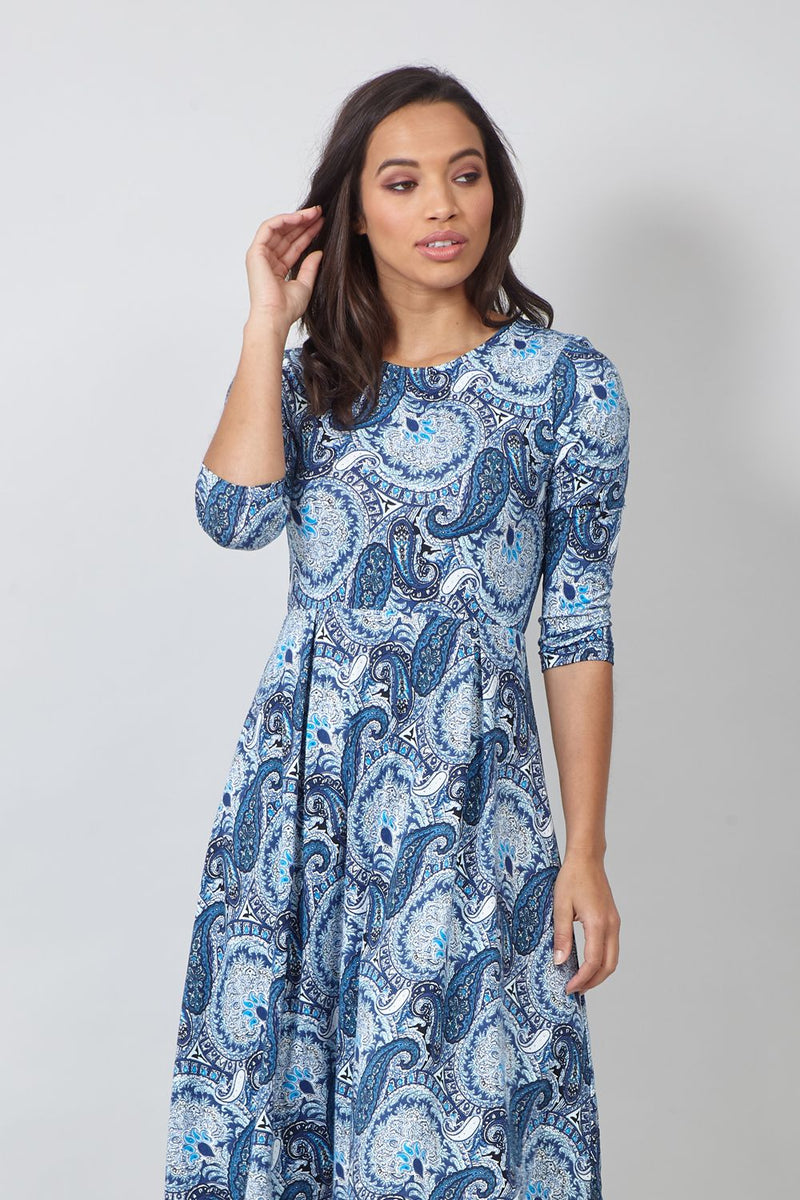 MULTI BLUE | Paisley 3/4 Sleeve Skater Dress