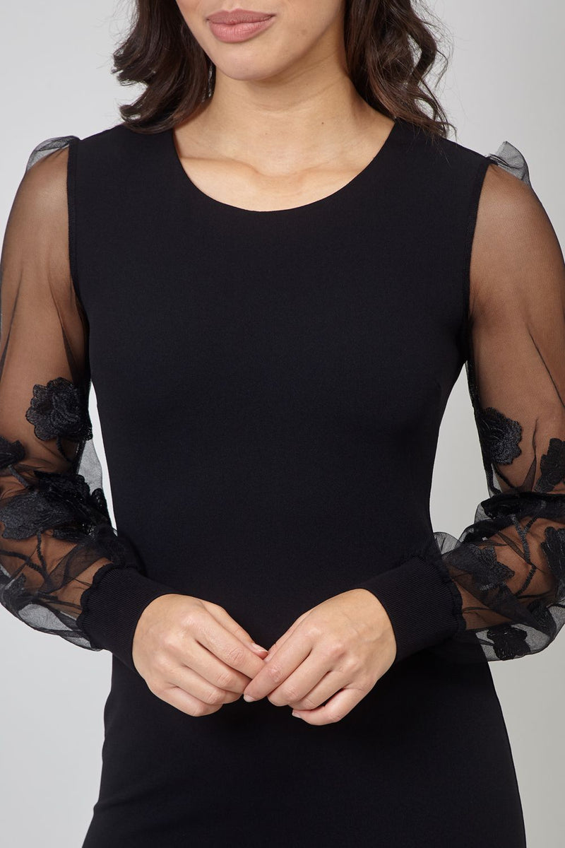 Black | Organza Sleeve Bodycon Dress