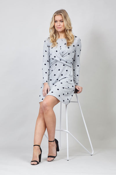 Grey | Polka Dot Twist Front Dress