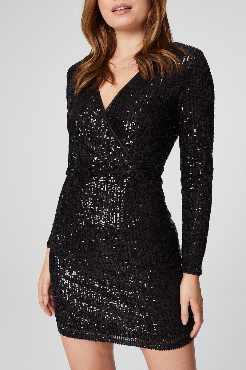 Black | Sequin Embellished Wrap Front Dress