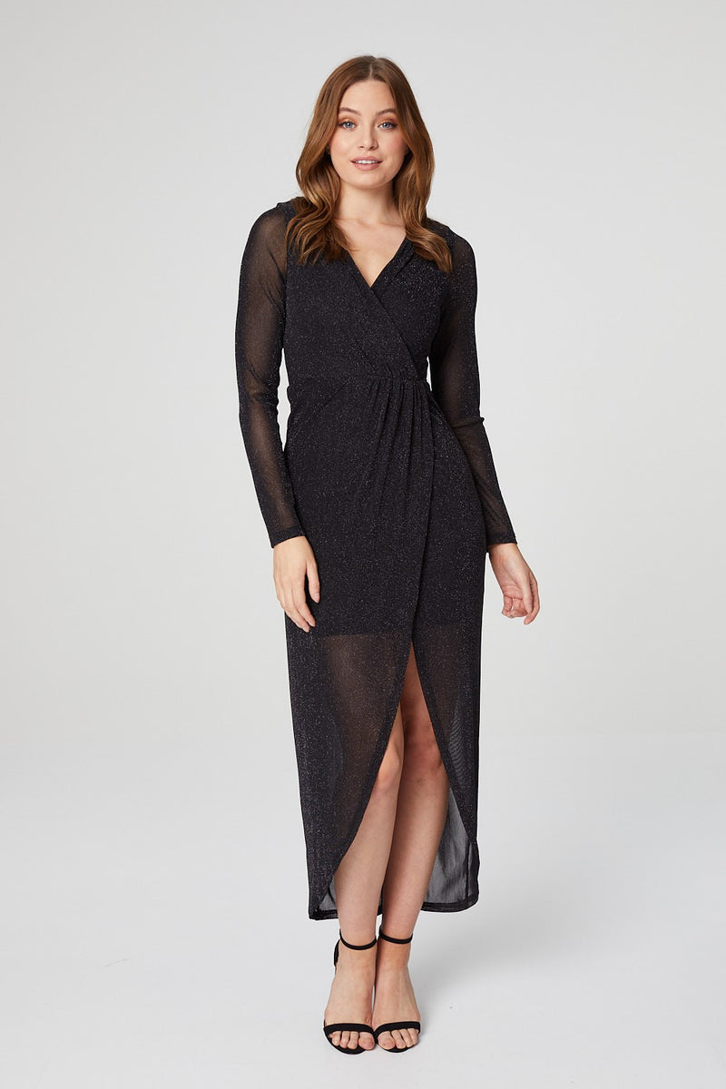 Black | Metallic Long Sleeve Midi Evening Dress