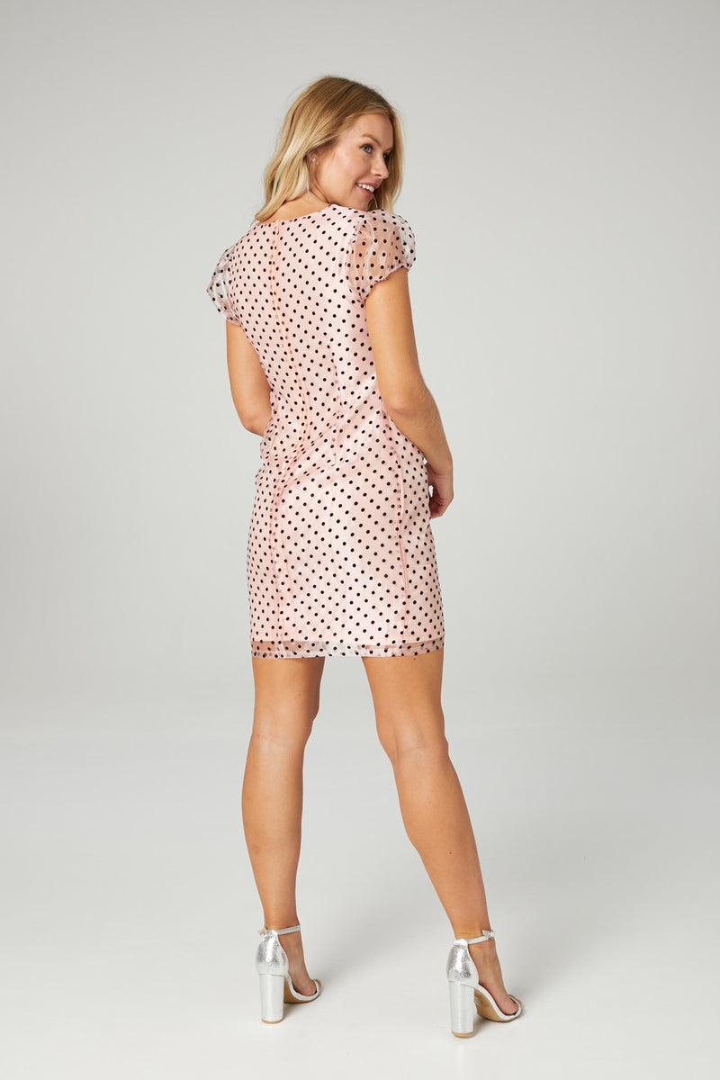 Polka Dot Puff Sleeve Shift Dress
