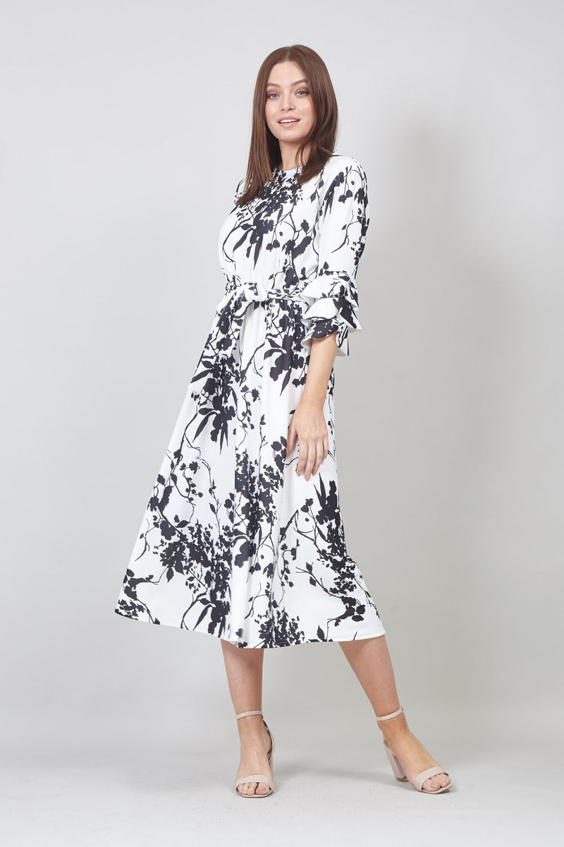 White | Floral Frill Sleeve Midi Dress