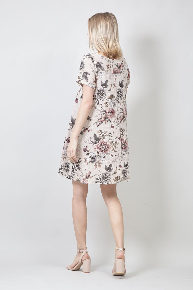 Beige | Vintage Floral Print Tunic Dress