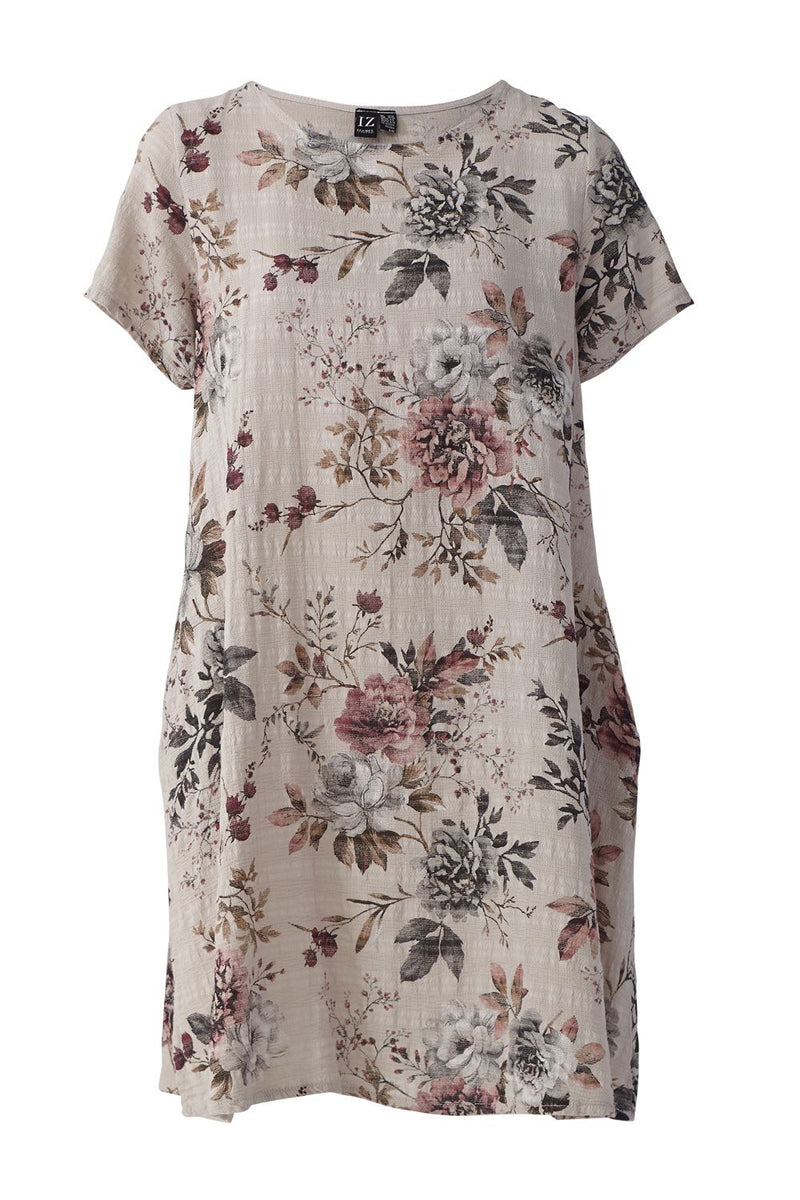 Multi Beige | Vintage Floral Print Tunic Dress