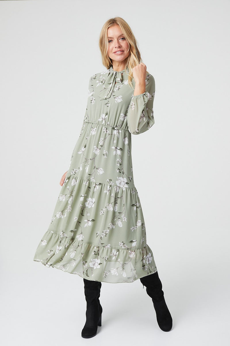 Green | Floral Tie Neck Tiered Midi Dress