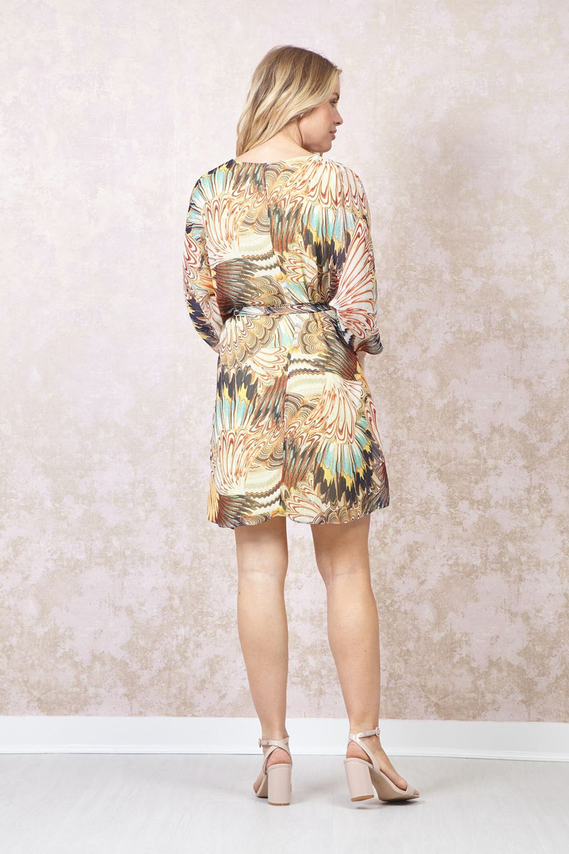Yellow | Abstract Print Shift Dress
