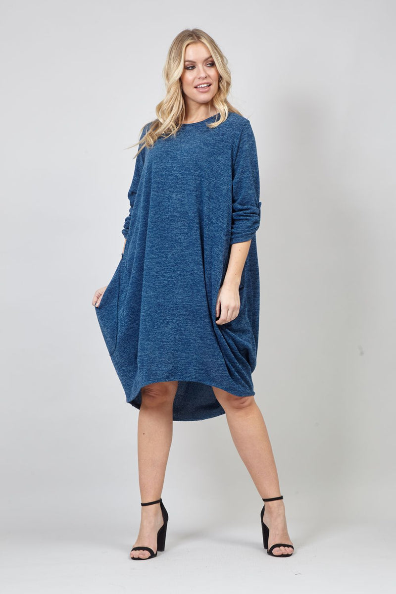 BLUE | Oversized Slouchy Smock Dress