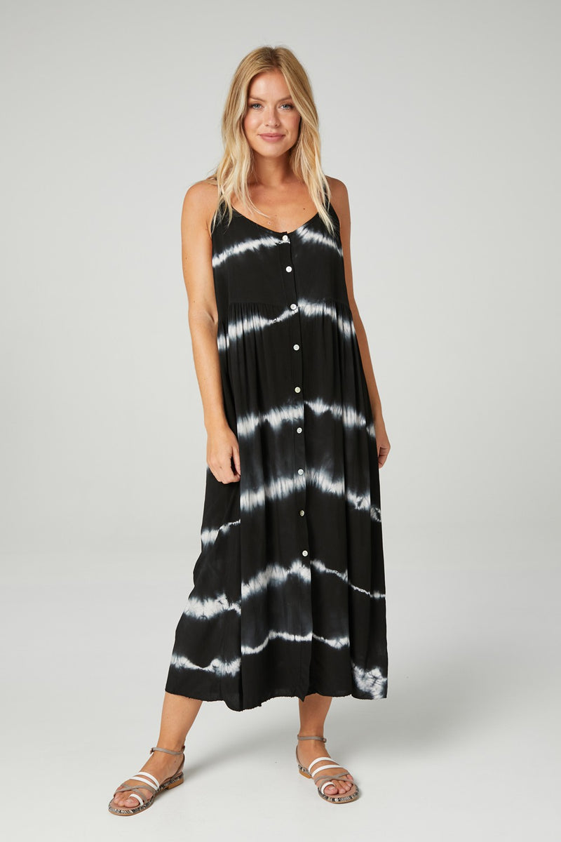 Tie Dye Button Front Sun Dress