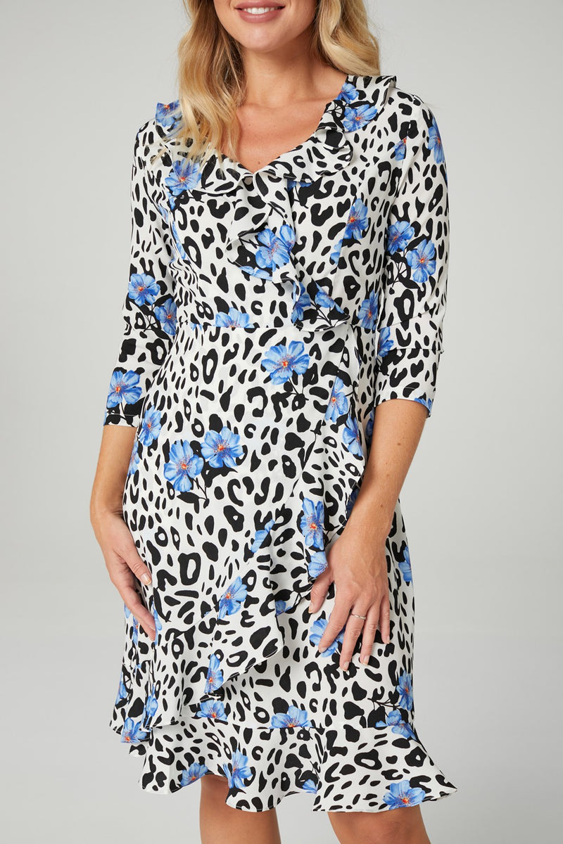 MULTI BLUE | Animal & Floral Print Wrap Dress