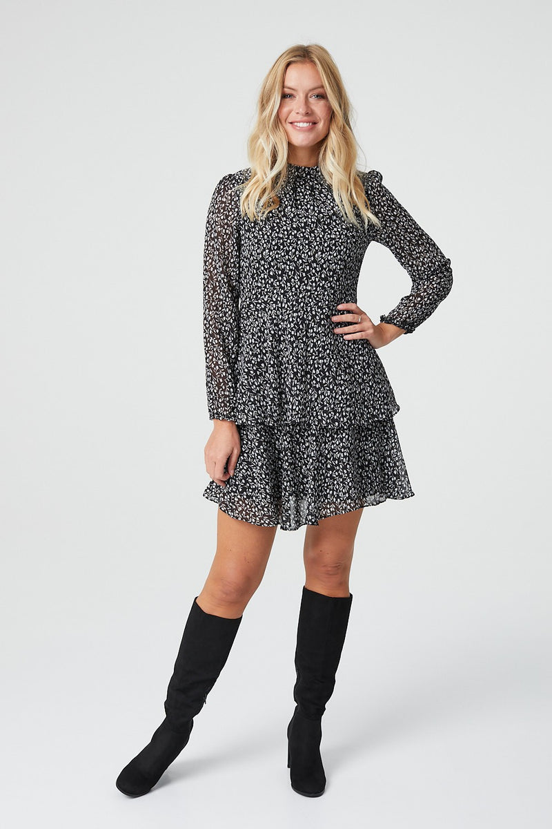 Black | Ditsy Floral Long Sleeve Skater Dress