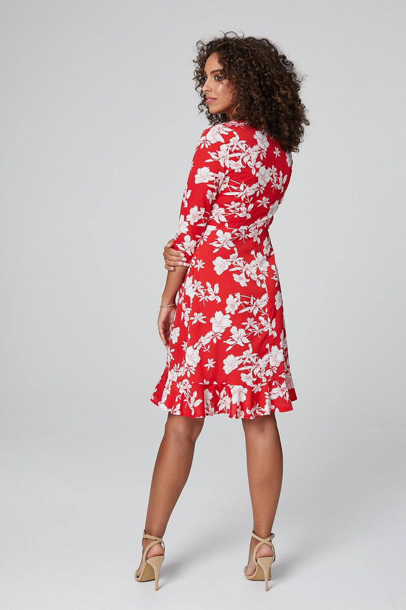 Red | Floral 3/4 Sleeve Fit & Flare Dress