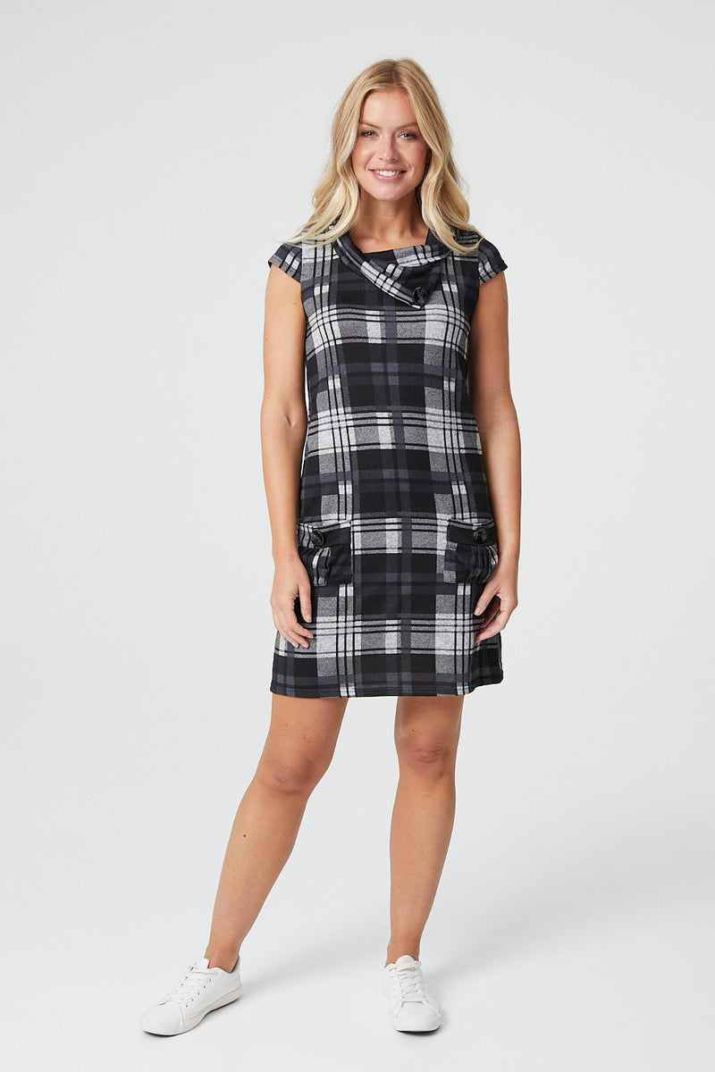 Grey | Checked Cowl Neck Shift Dress