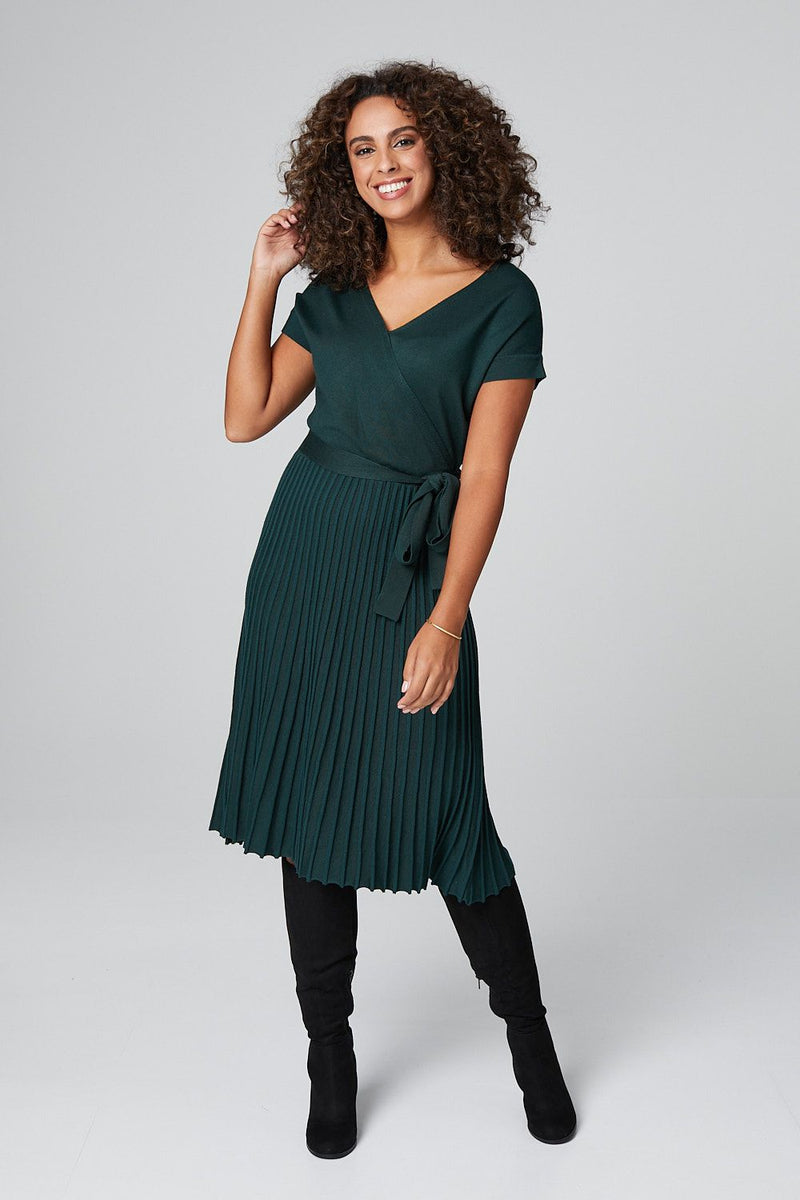 Green | Pleated Wrap Front Knit Midi Dress