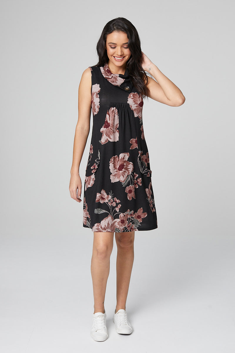Black | Floral Cowl Neck Tunic Dress