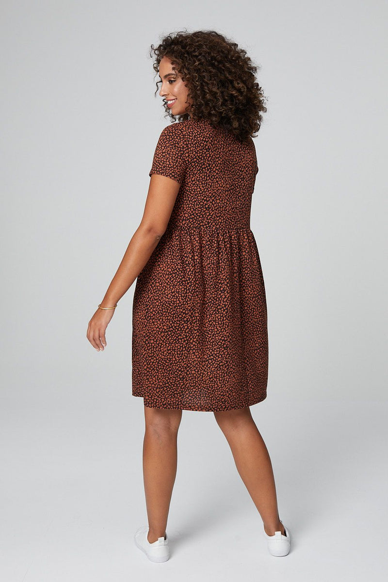 Rust | Animal Print Smock Dress