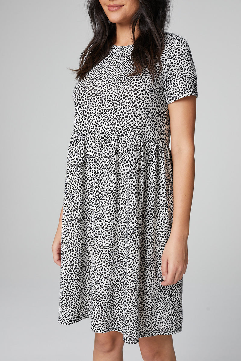 White | Animal Print Smock Dress