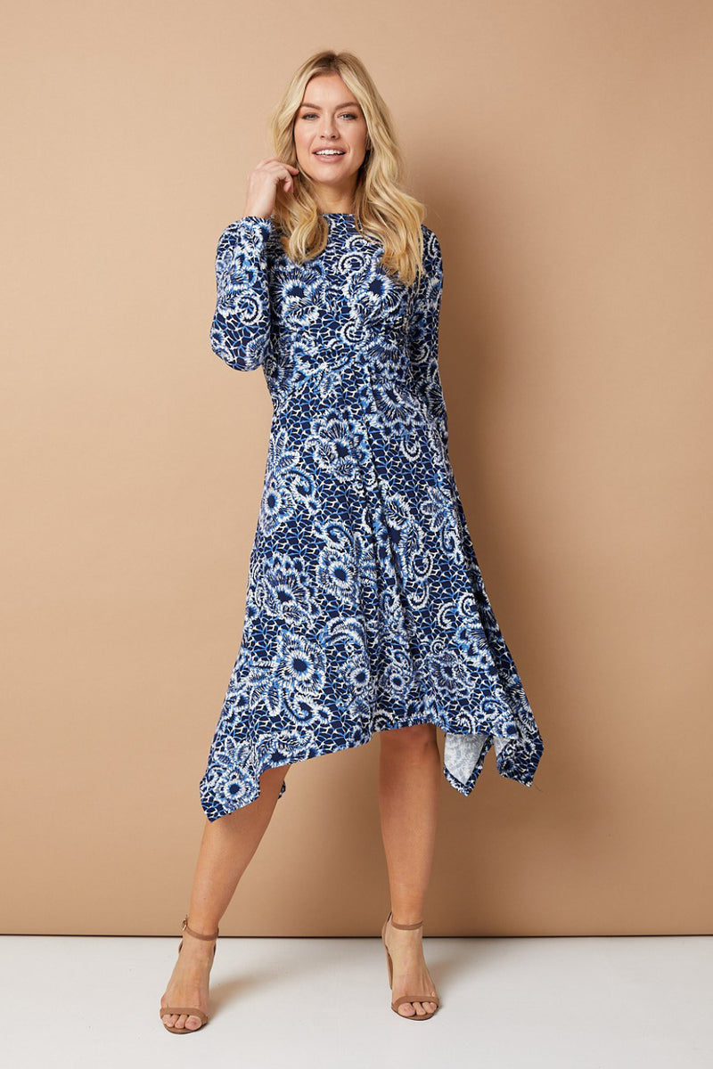 Navy | Floral Long Sleeve Hanky Hem Dress