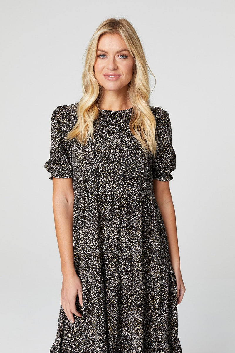 Black | Ditsy Print Tiered Midi Dress
