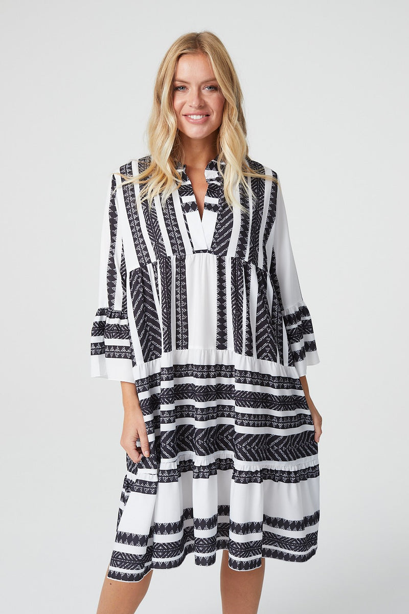 Black And White | Aztec Print Midi Smock Dress