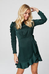 Green | Ruched Long Sleeve Skater Dress