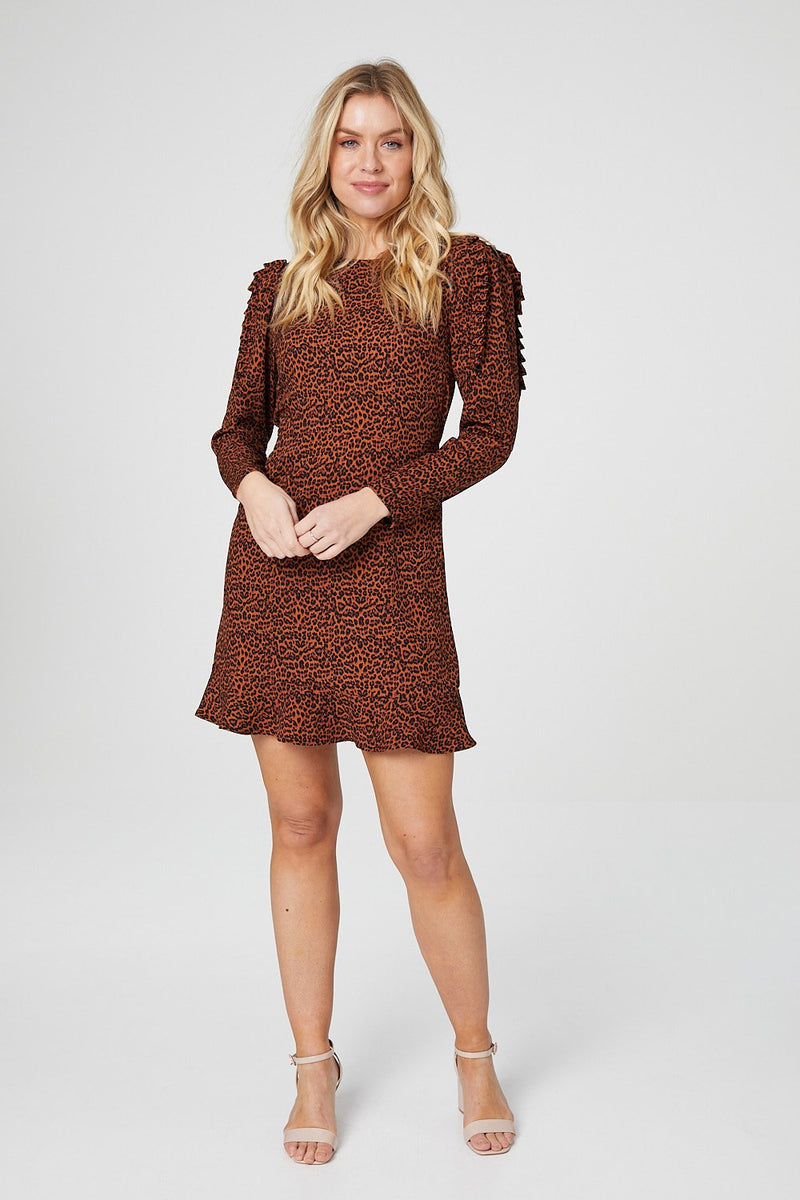 Brown | Animal Print Long Sleeve Fit & Flare Dress