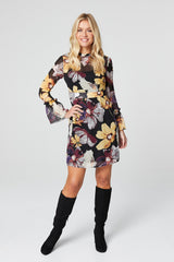 Black | Floral Long Sleeve Skater Dress