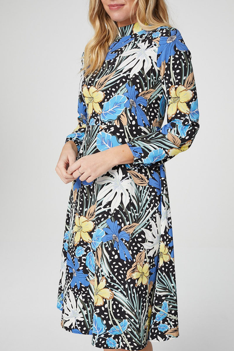 Blue | Floral Long Sleeve Midi Tea Dress
