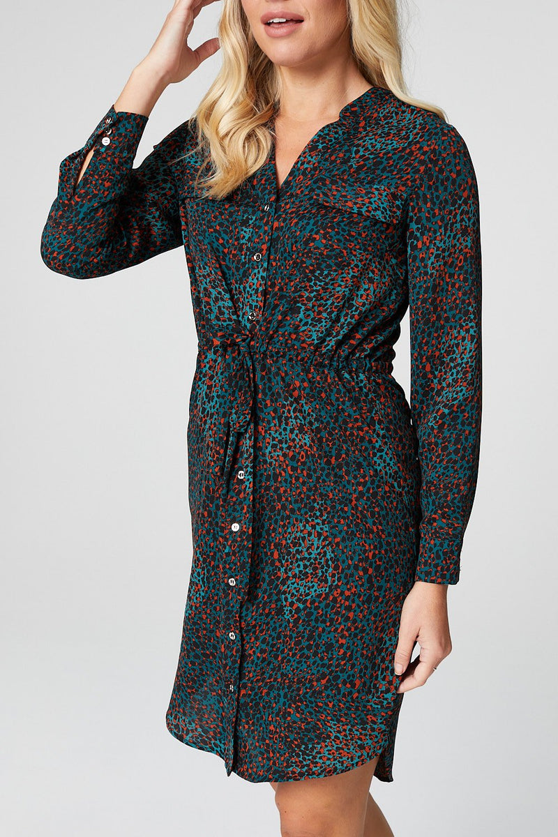 Green | Animal Print Shirt Dress
