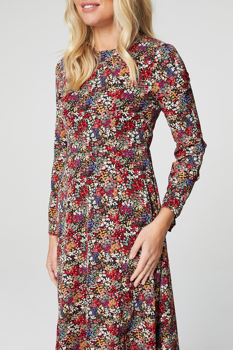 Red | Ditsy Floral Long Sleeve Tea Dress