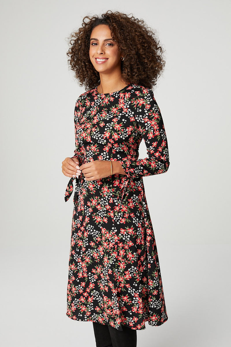Black | Floral Long Sleeve Midi Dress