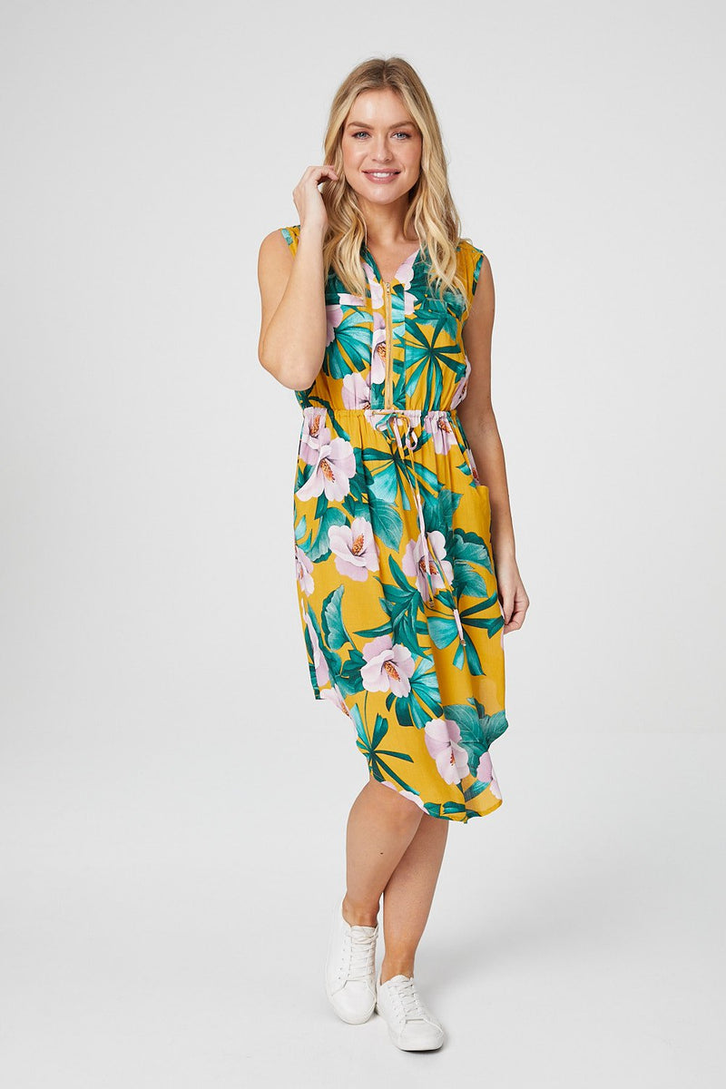 Yellow | Floral Zip Front Shirt Midi Dress