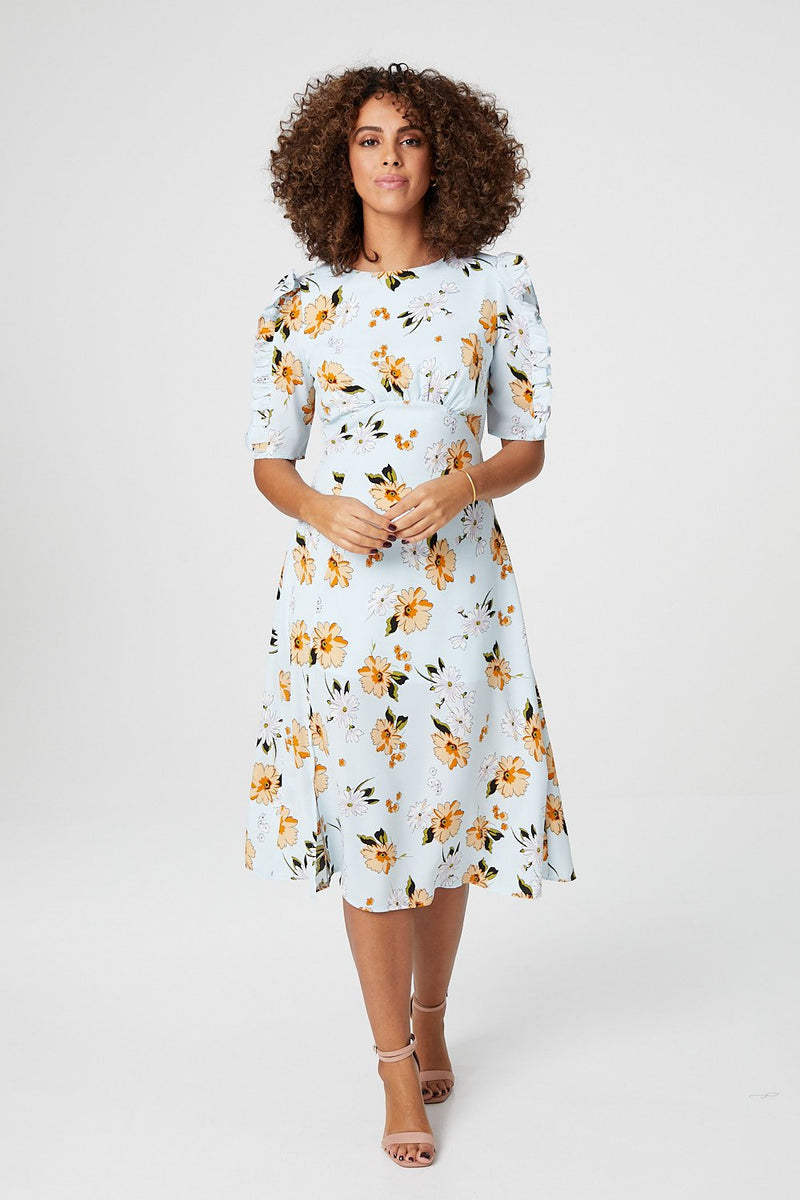 Light Blue | Floral Short Sleeve Midi Tea Dress