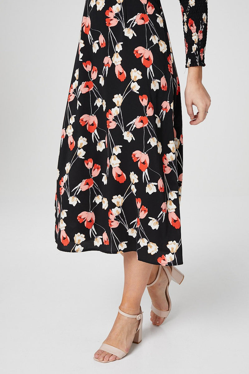 Black | Tulip Print Puff Sleeve Midi Dress