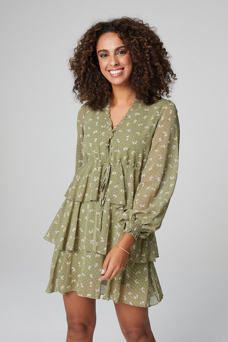 Green | Leaf Print Sheer Sleeve Tiered Smock Dress