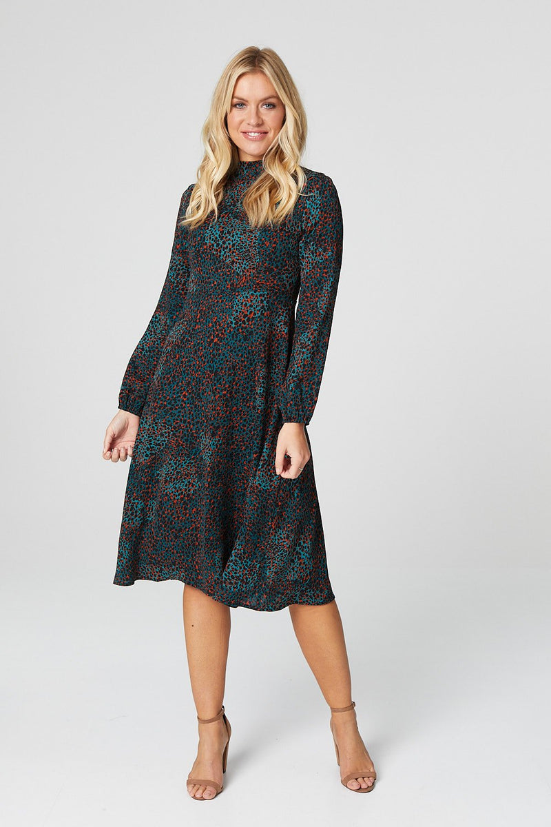 Green | Polka Dot Long Sleeve Midi Dress