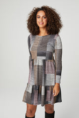 Grey | Patchwork Long Sleeve Tiered Dress