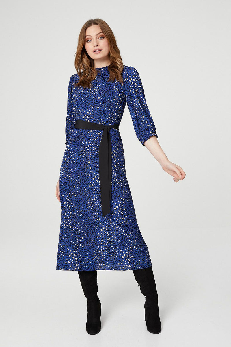 Navy | Animal Print High Neck Midi Dress