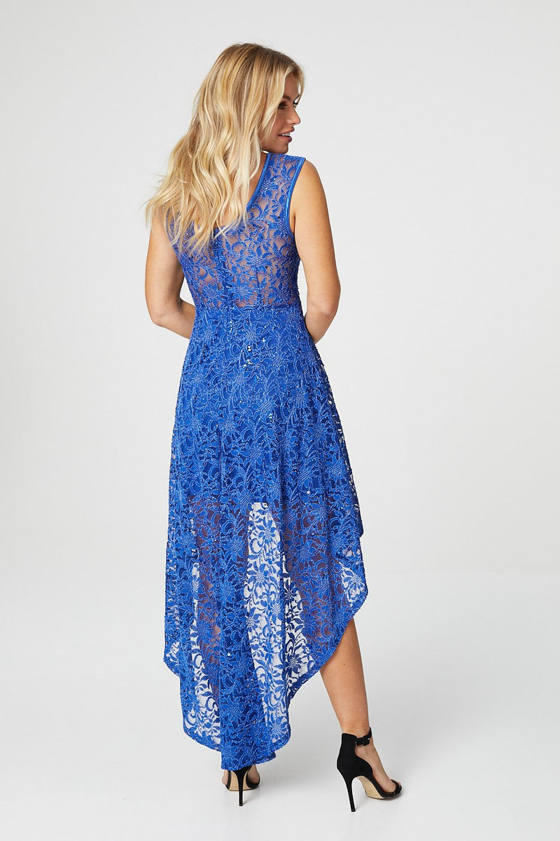 Blue | Lace High Low Skater Dress