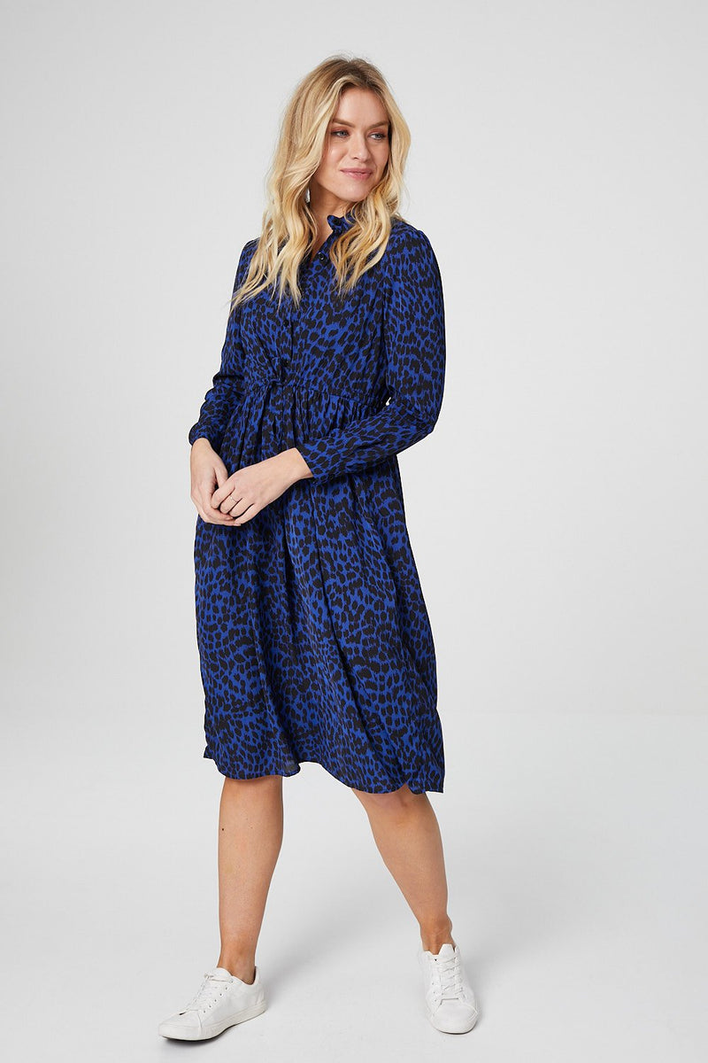 Dark Blue | Animal Print Midi Shirt Dress